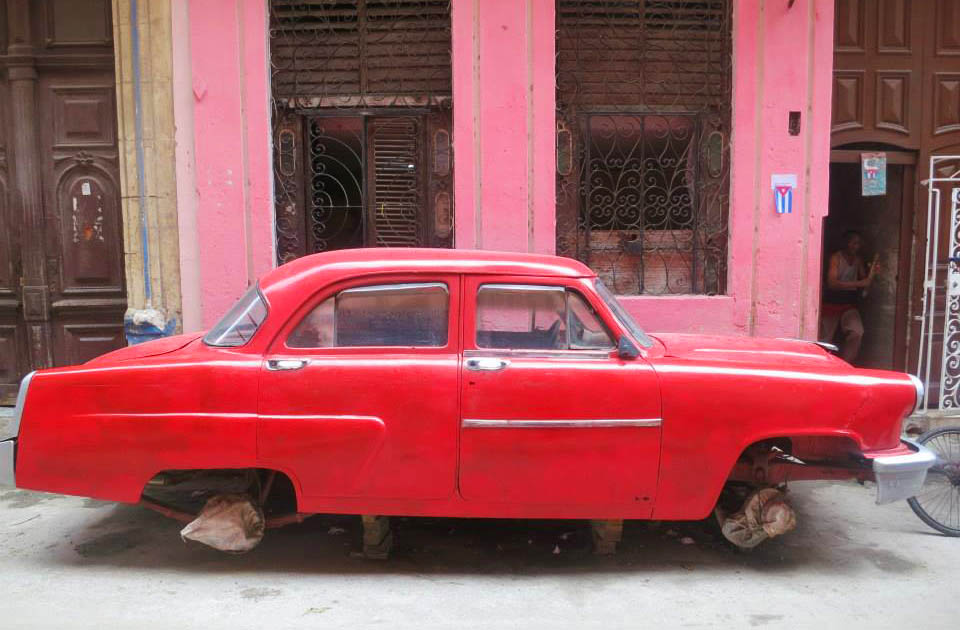 Red car in Cuba
