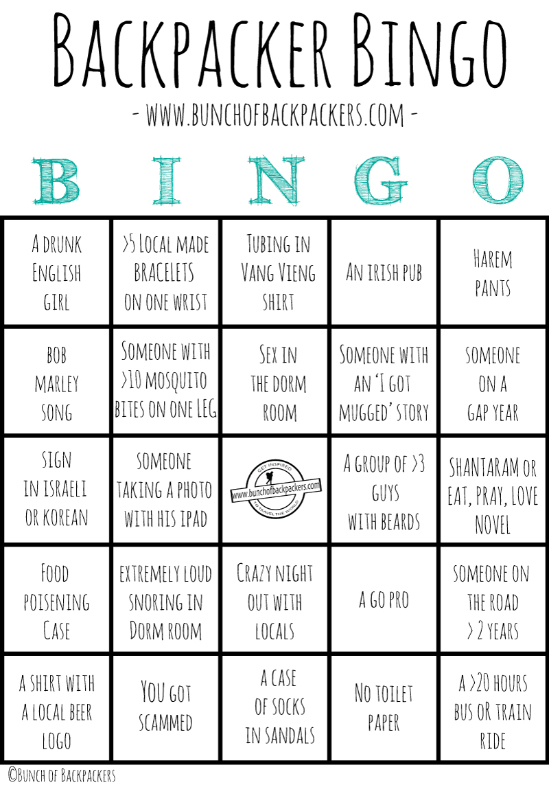 Backpacker Bingo