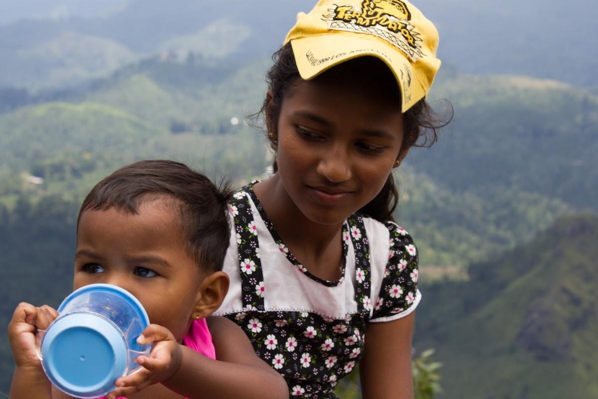 Sri Lankan kids on top of Ella Rock
