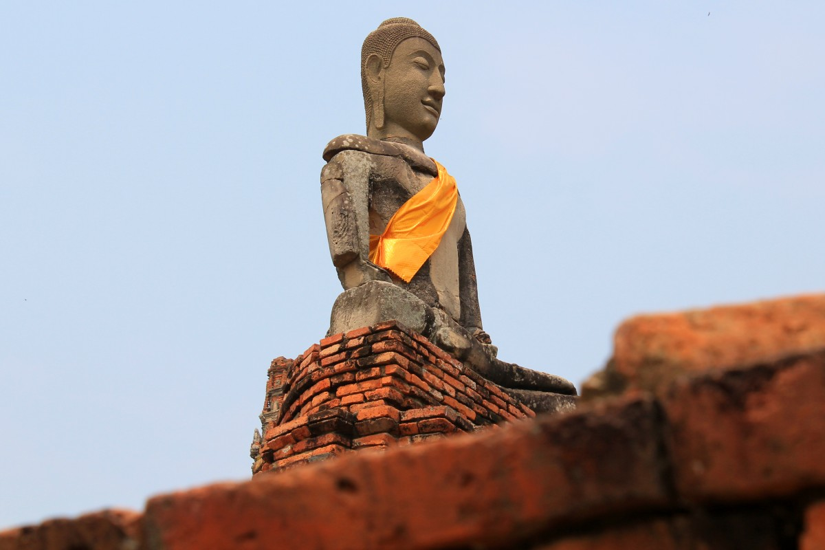 Ayutthaya, Thailand. Bunch of Backpackers