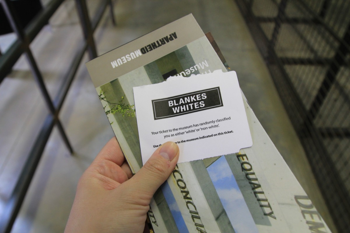 Are you allowed to use the entrances for 'whites'? At the impressive Apartheidsmuseum in Capetown. Bunch of Backpackers