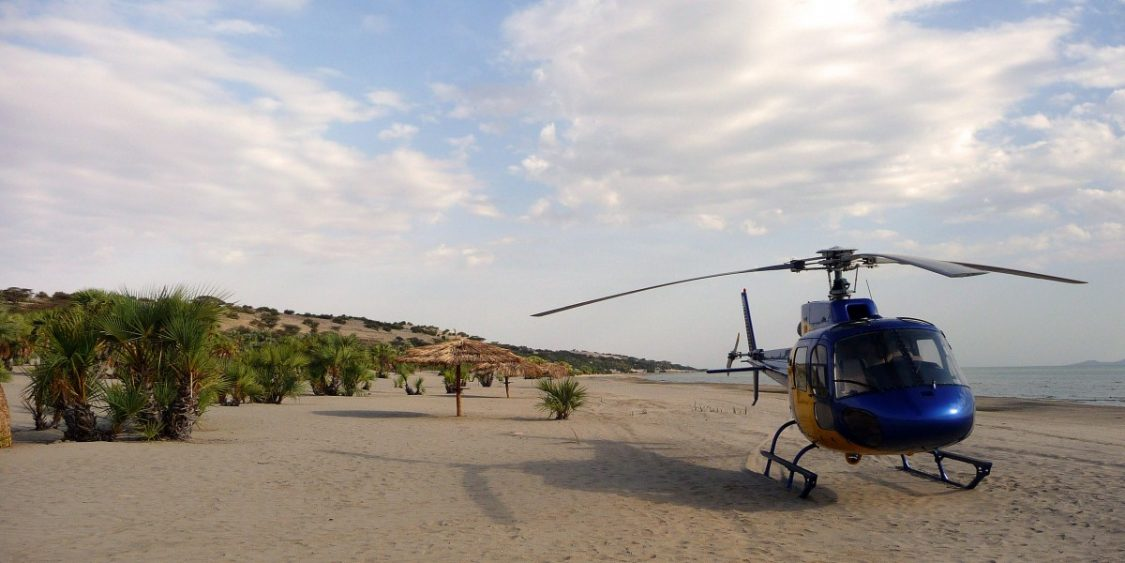 Helicopter. This couple only came to 'check out' the resort. ©Bunch of Backpackers.