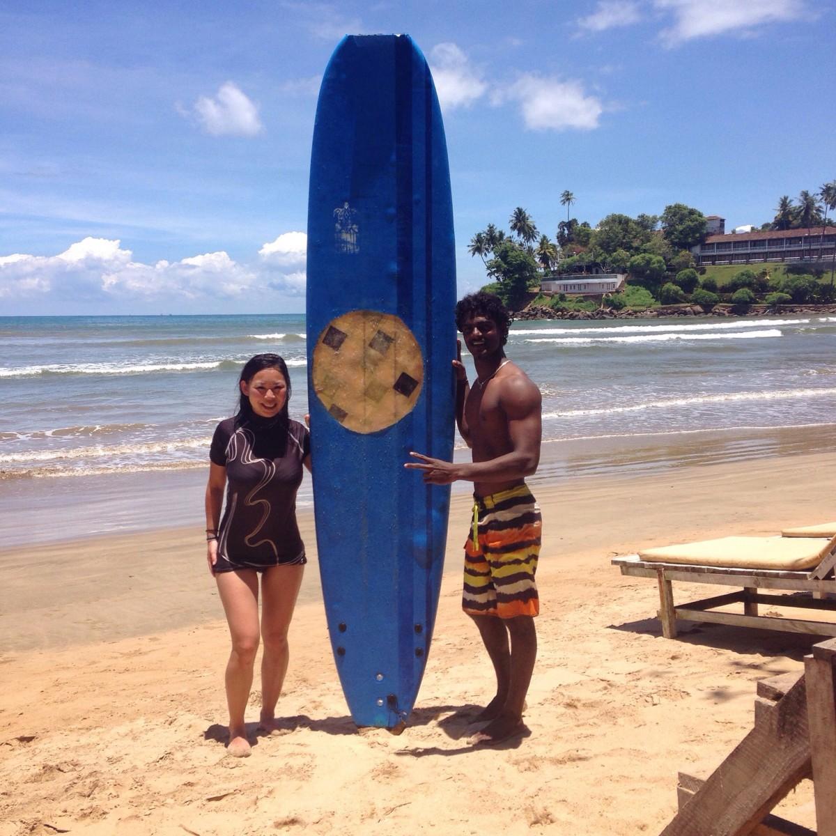 Surfing near Galle