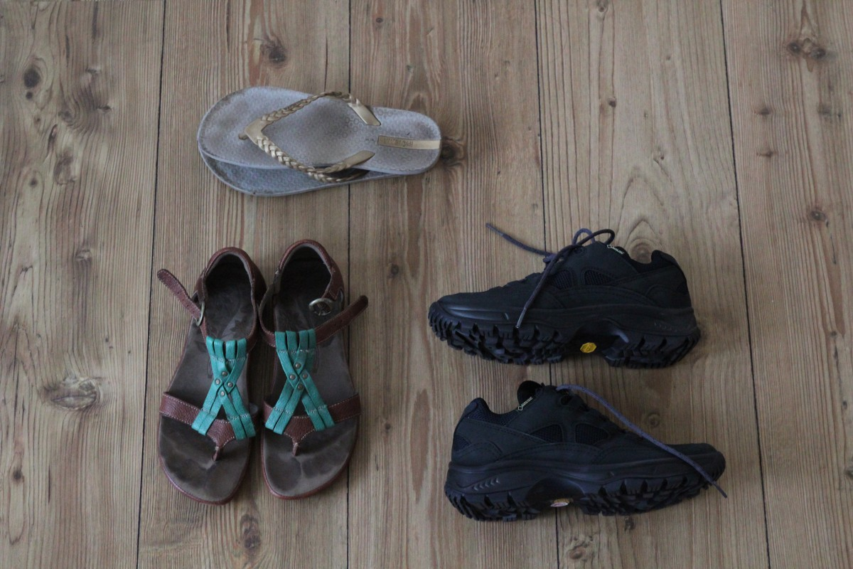 Shoes - Packing list 6 months of backpacking. ©Bunch of Backpackers