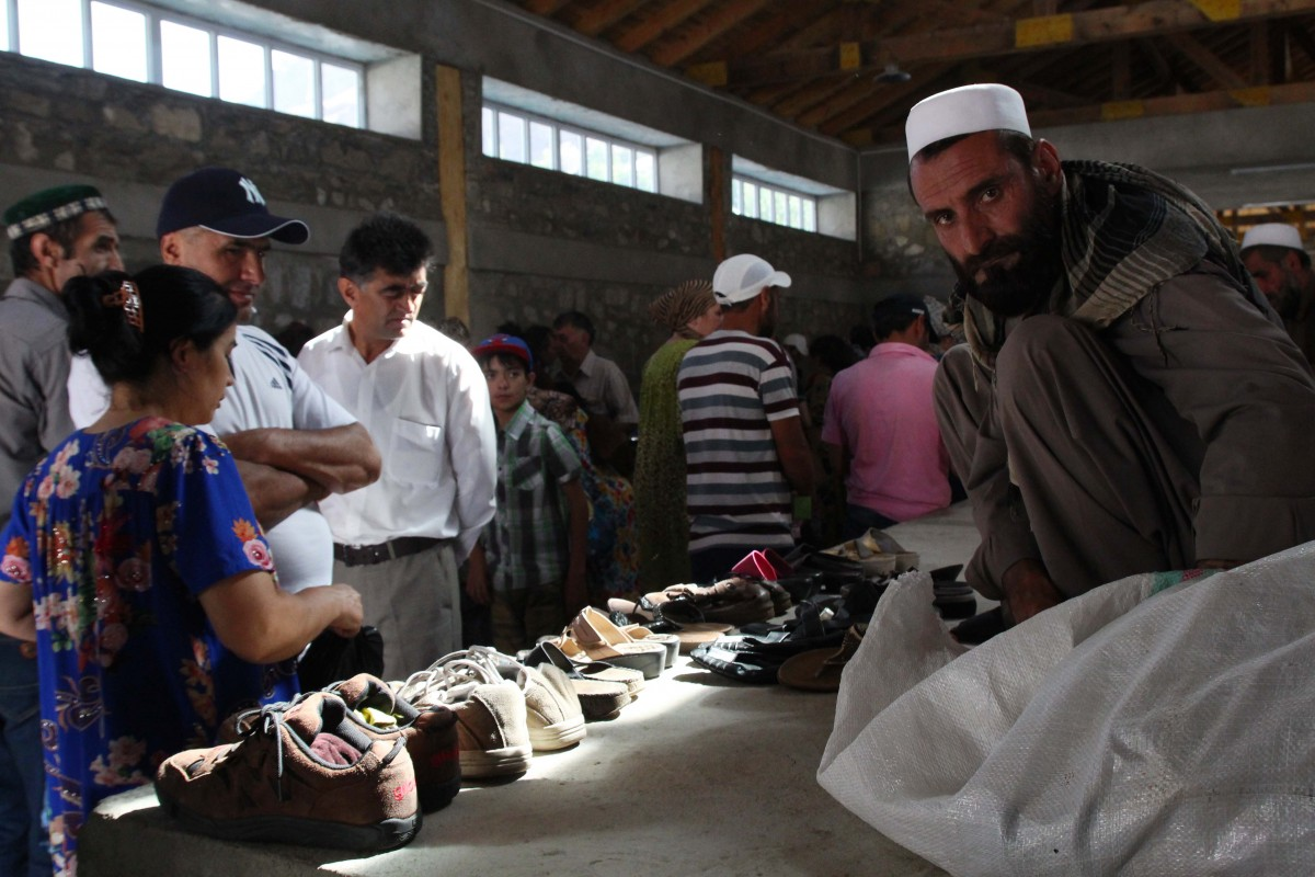 The Afghan cross border market in Khorog. During this market Afghans are allowed to come over to Tajikistan for one day in a designated and closed area to sell their goods.