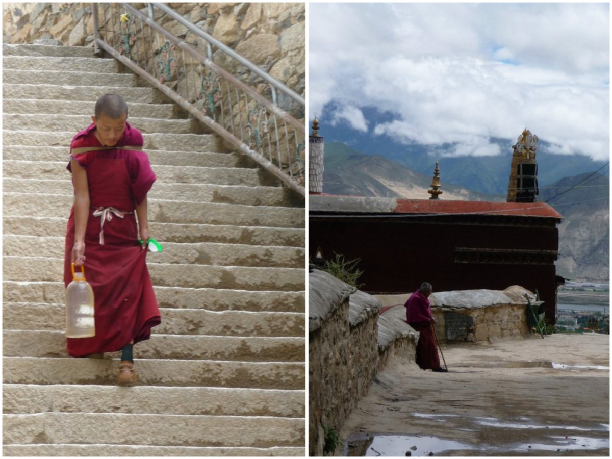 On the right: A young monk at the Drepung monastry (it used to house more than 7000 monks, these days there only are about 700). On the left: Another monk at the Drepung monastery