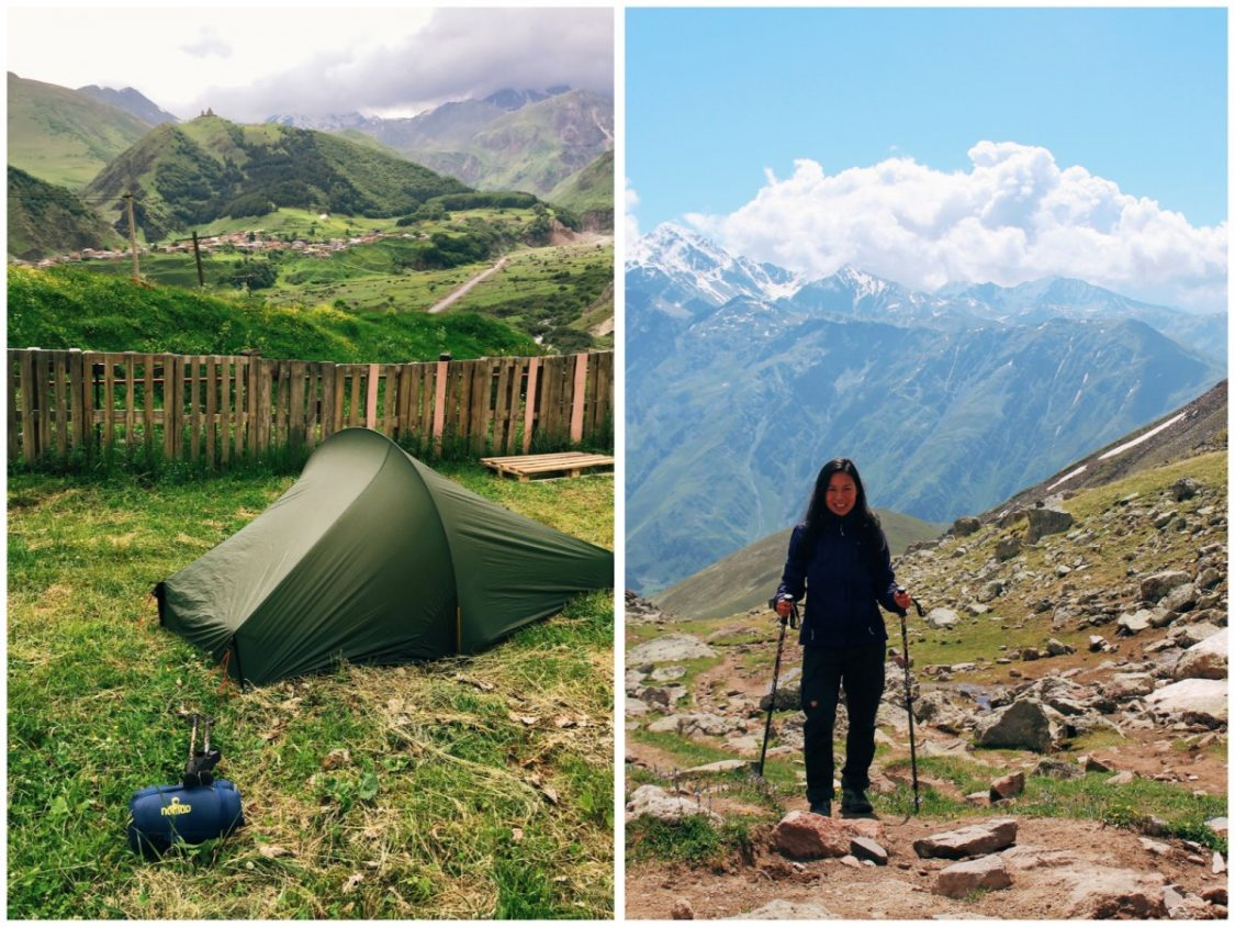 Camping in Kazbegi at Kuro camping and hiking to Gergeti glacier.