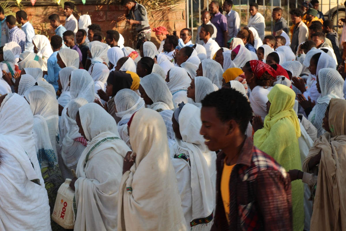 Whites masses in the streets of Aksum. Timkat festival Ethiopia.