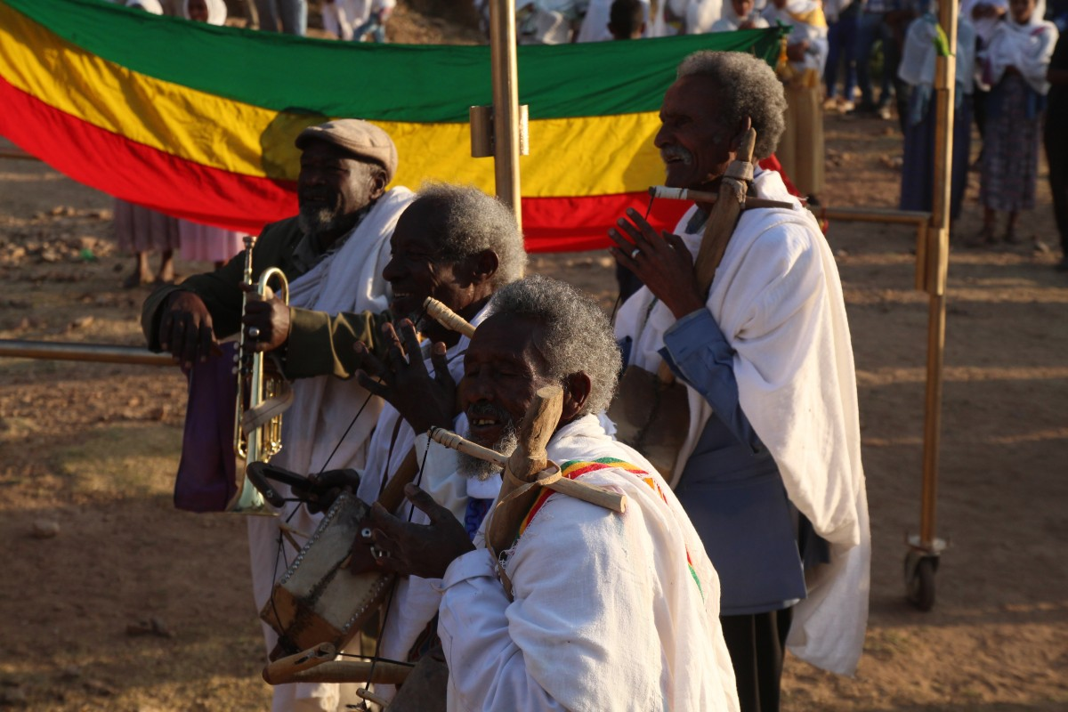 Music during the Timkat festival. Timkat festival Ethiopia.