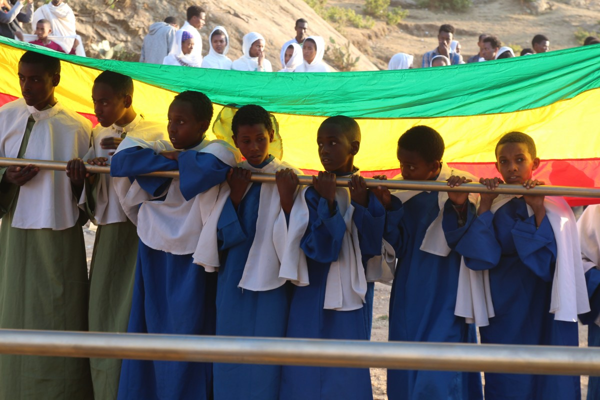 Kids during the Timkat festival. Timkat festival Ethiopia.