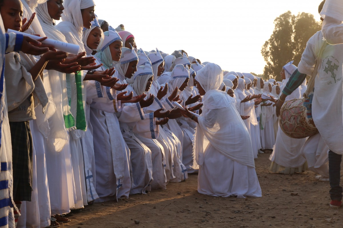 Dancing and singing during the Timkat festival. Timkat festival Ethiopia.