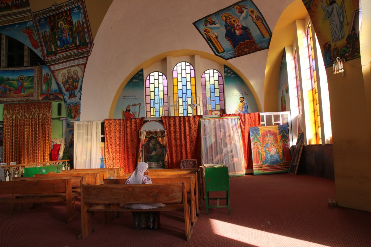 Inside the Orthodox church in Aksum. Timkat Festival Ethiopia. Copyright Bunch of Backpackers.