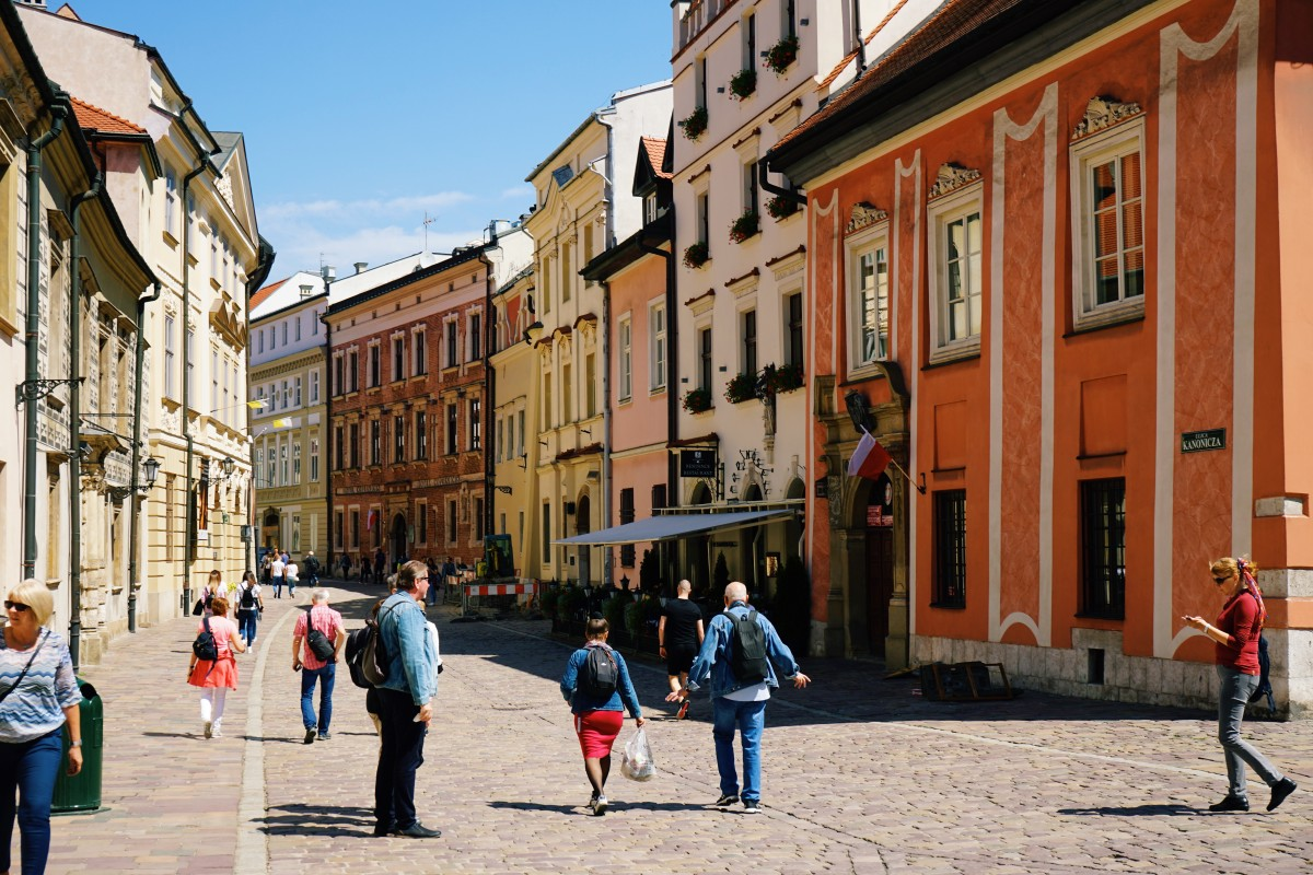 Colorful streets in Krakow, Poland