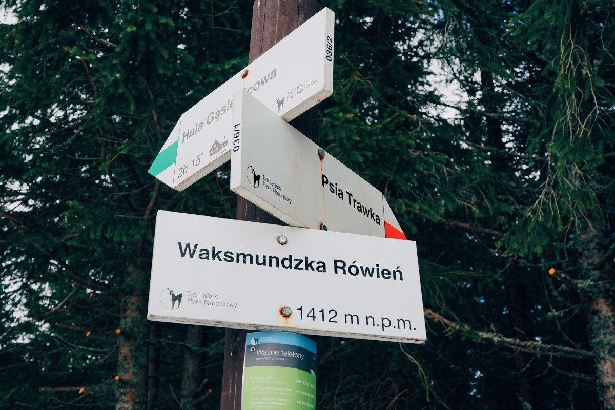 Trails and signpost Tatras